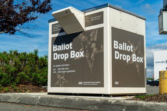 Everett, WA. USA - 08/31/2020: Ballot Box For Mail in Vote