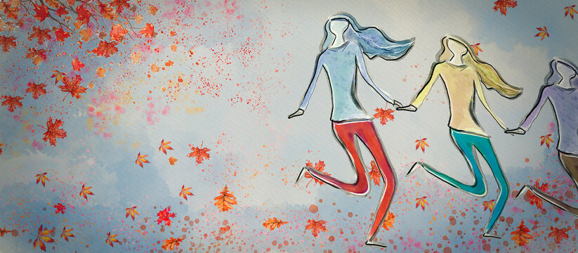 Autumn girls. Watercolor banner