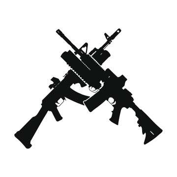 Crossed AR 15 and AK 47. Assault rifle silhouette.