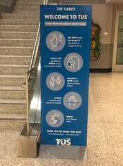 """Welcome to TUS"" sign after the opening with limited flights at Tucson International Airport in Arizona"