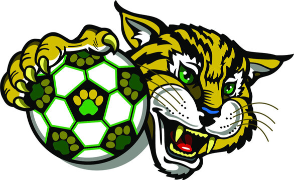bobcat soccer team mascot holding ball for school, college or league