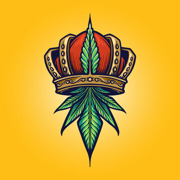 King Cannabis Logo Weed crown Illustrations  for your business premium