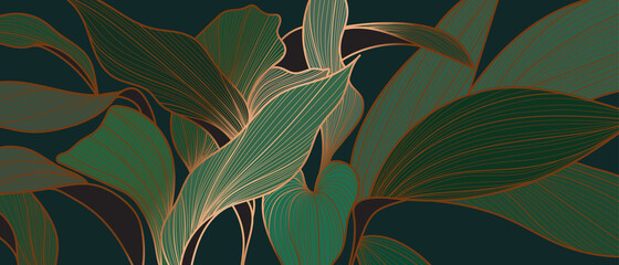 Floral seamless emerald green and copper metallic plant background vector for house deco  Wall mural