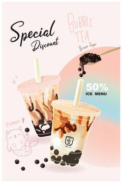 Promotion milk tea bubble brown sugar  matcha green tea vector