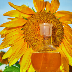 Glass flask with sunflower oil.