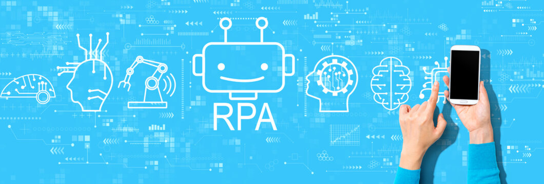 Robotic Process Automation RPA theme with person using a smartphone on a blue background