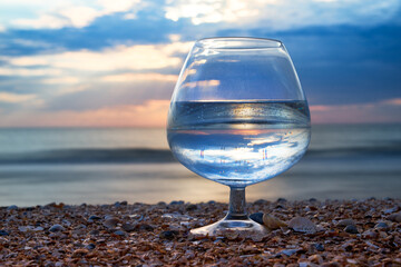 Glass of clean drinking water.