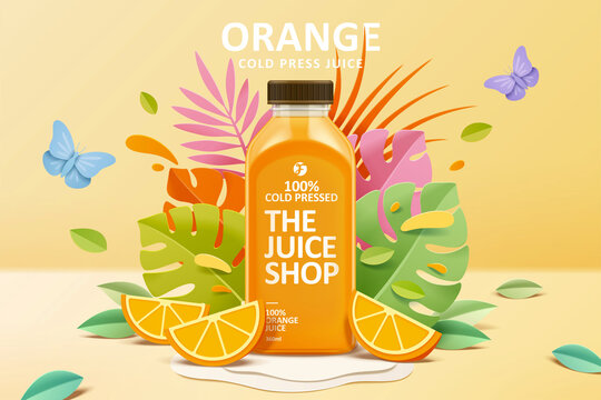 Juice ad in 3d paper cut design