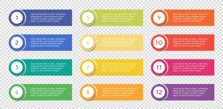 Number bullet point set with text templates, colorful list points