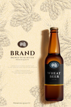 Engraved wheat beer poster