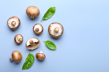 Raw mushrooms on light background