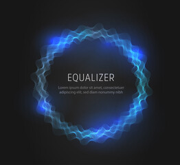 Blue round equalizer shape on black background. Realistic set of sound and radio wave. Digital voice graphic design, vector illustration.