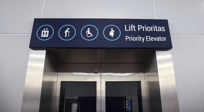 Diffable area, logo icon or sticker in public area of train station