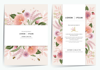 Wall Mural - Vector illustration of a beautiful floral frame set for Wedding, anniversary, birthday and party. Design for invitation card, picture frame, poster, scrapbook