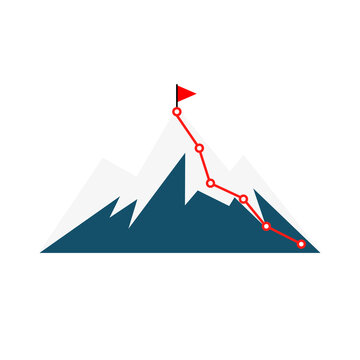 Mountain climbing route. Cimbing route icon. Route to peak. Flat infographic with mountain climbing route. Vector icon.
