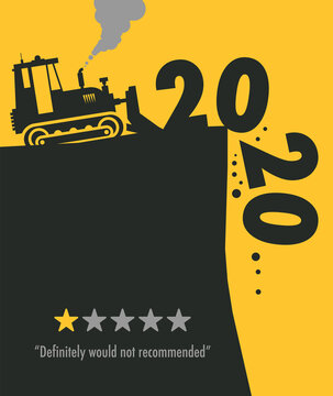 Tractor bulldozer at work on the construction site, Happy New Year 2020 card