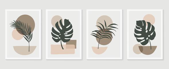Fototapeta Botanical wall art vector set. Tropical Foliage line art drawing with  abstract shape.  Abstract Plant Art design for print, cover, wallpaper, Minimal and  natural wall art. Vector illustration. obraz