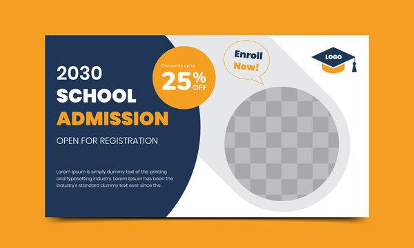 Back to school admission offer social media banner design template Premium vector file