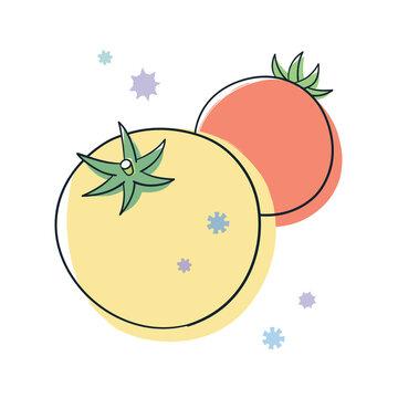 黄色とオレンジ色のトマトとウィルス