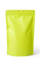 green foil zipper bag packaging on white background