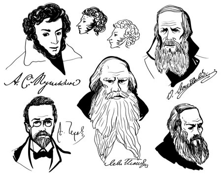 Big set with hand drawing portraits of the great Russian writers - Anton Chekhov, Alexander Pushkin, Leo Tolstoy, Fedor Dostoevsky. Set of isolated elements on white background.
