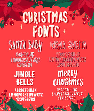 Christmas fonts. Holiday typography alphabet with season wishes and festive illustrations.