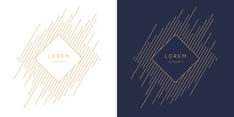 Postcard for text. Vector geometric illustration with gold lines.