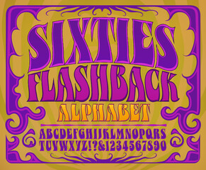 Fototapeta Sixties Flashback Alphabet: A font in the style of 1960s psychedelic posters and album covers obraz