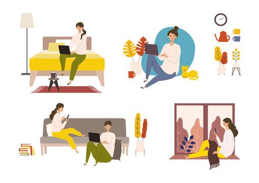 秋の休日を自宅でパソコン、スマートフォンと共に楽しむ人々