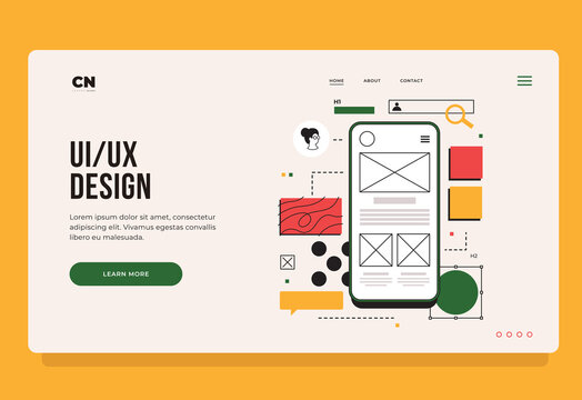 Layout of blocks of mobile applications on smartphone screen. UX/UI design concept. Mobile app interface template. Web page template for internet industry. Landing Page. Vector flat illustration.
