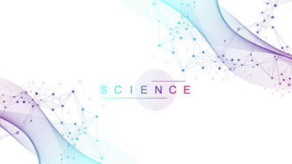 Science information banner template background. laboratory template for posters, flyer, book cover, banners. Scientific or chemistry concept. Scientific vector illustration.
