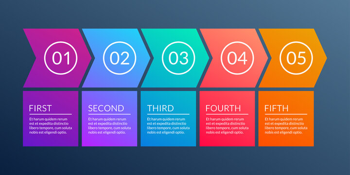 5 steps business process. Timeline infographic with arrows and 5 elements, options or levels for flowchart, presentation, layout, progress chart, workflow. Vector illustration.