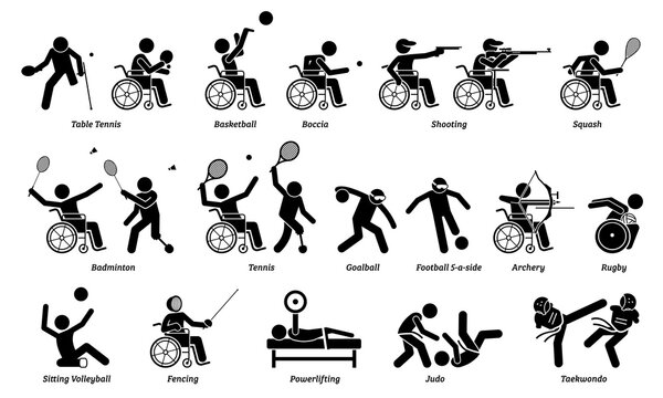 Disabled indoor sport and games for handicapped athlete stick figures icons. Vector signs and symbols of competitive sports for people with disabilities.