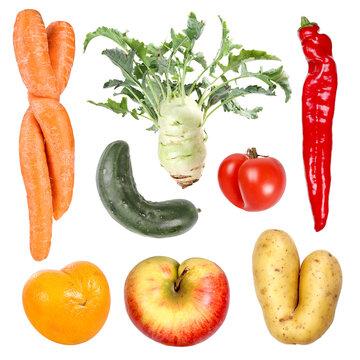 Deformed organic fruits and vegetables