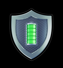 Battery Safety Shield. Graphic representation of an abstract battery placed in center of a safety shield. 3D-rendering graphics isolated on black background.