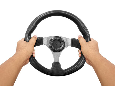 Hands holding steering wheel isolated on white