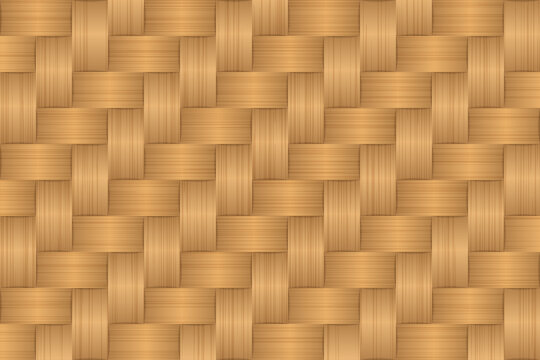 Wood plank bamboo brown texture background.  Retro woven wood pattern background.