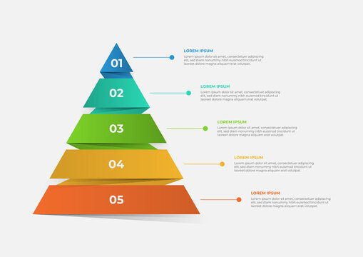 A pyramid-shaped modern timeline infographic template divided into five parts. Vector business template for presentations. Suitable for brochures, workflows, annual reports, charts, layouts