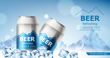 Two cans with refreshing beer submerged in ice cubes. Snowy mountains in background. For hot summer days. Realistic