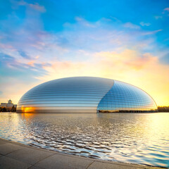 Beijing, China - Jan 8 2020: The national Theater of Peforming Arts or the Gian Egg is an art center design by Paul Andreu. Houses opera, music, theater and arts exhibition halls