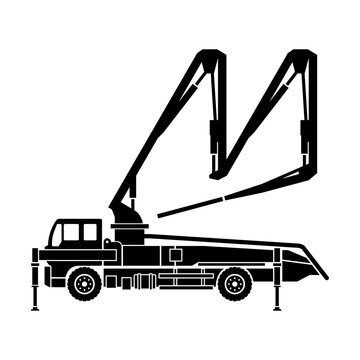 Concrete pump truck silhouette - machine used for transferring liquid concrete by pumping that attached to truck with remote-controlled articulating robotic arm (boom)