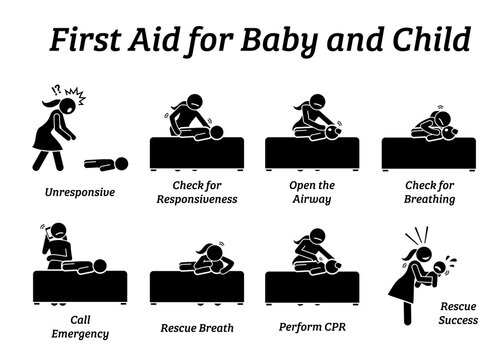 First aid rescue emergency treatment for baby, infant, or child stick figures icons. Vector illustrations of CPR rescue procedures and how to help and save the life of an unconscious small kid.