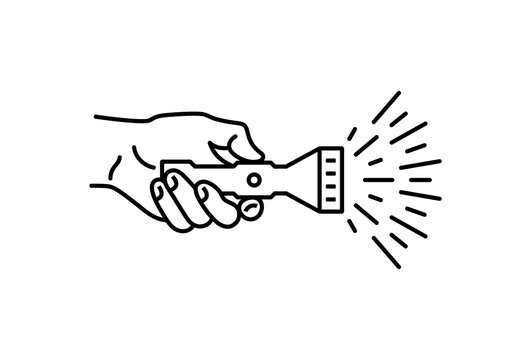 Hand holds pocket flashlight, vector linear icon.