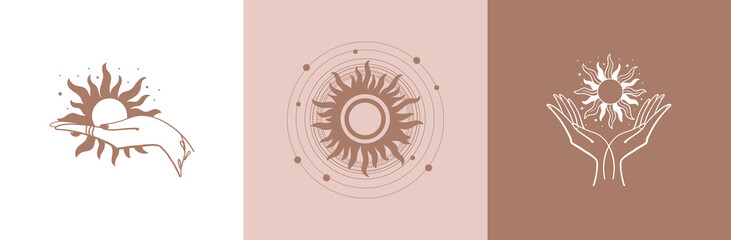 Set of mystical logos with the sun. The hand holds the sun. Set of vector drawings for tattoo, boho design, astrology, cosmetics, beauty, tattoo, astrology, manicure, jewelry store.