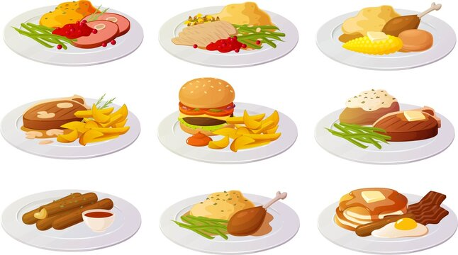 Vector illustration of various american dishes and snacks isolated on white background