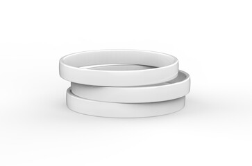 White silicone wristband mockup template on isolated white background, 3d illustration