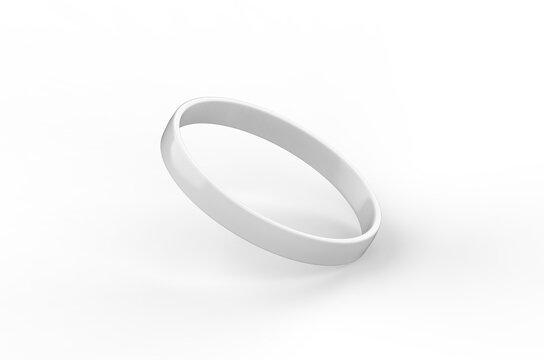 White silicone wristband mockup template on isolated white background, 3d illustration