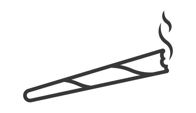 Marijuana joints or cannabis spliff cigarette line art vector icon.