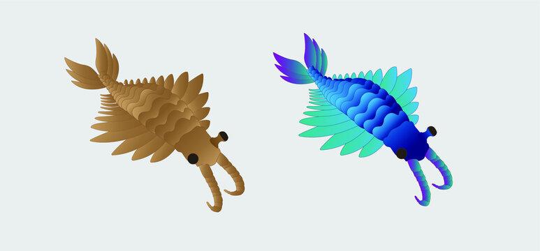 Anomalocaris saron vector illustration, extinct species, alien species