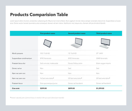 Three products comparison table layout with place for description. Flat infographic design template for website or presentation.